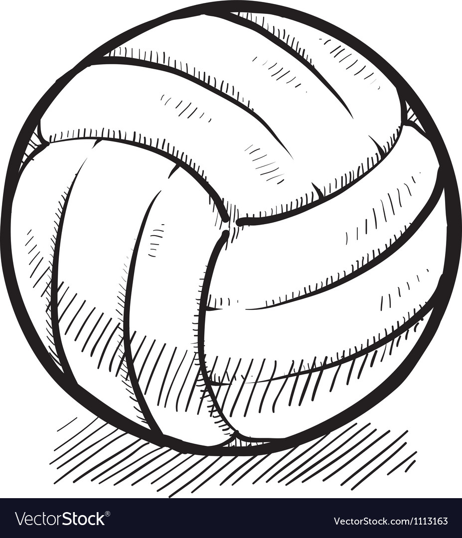 Doodle volleyball vector