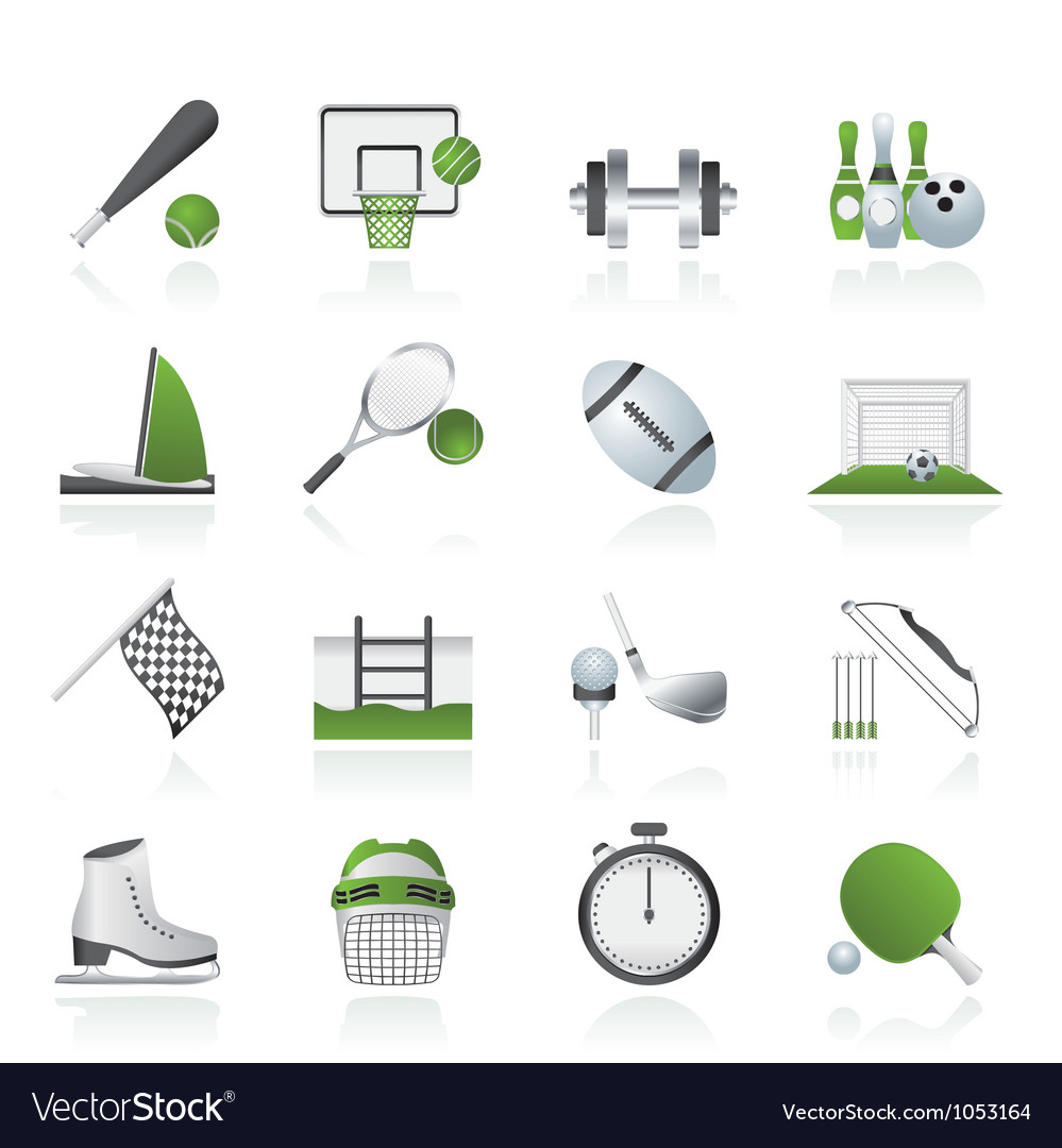 Sport objects icons vector