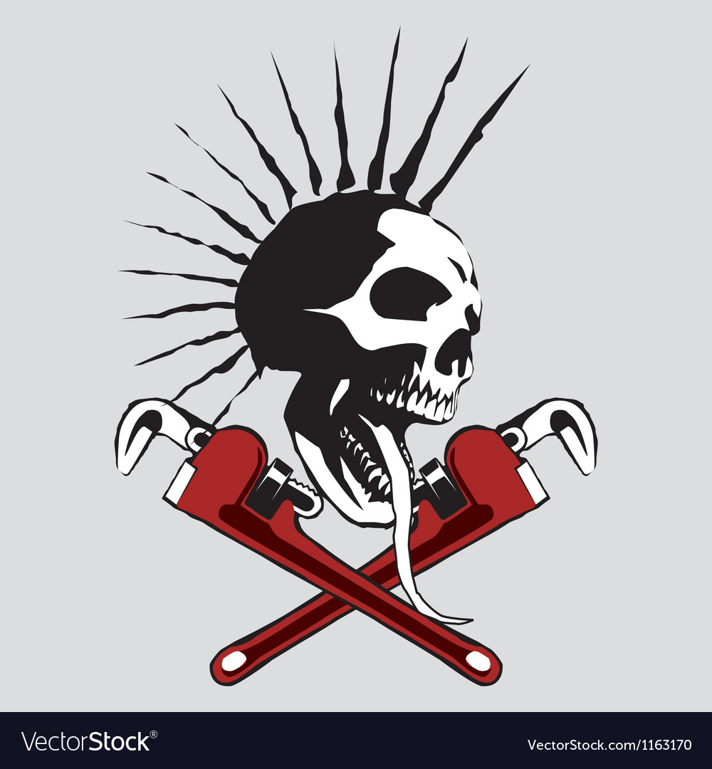 Skull pipe wrench vector