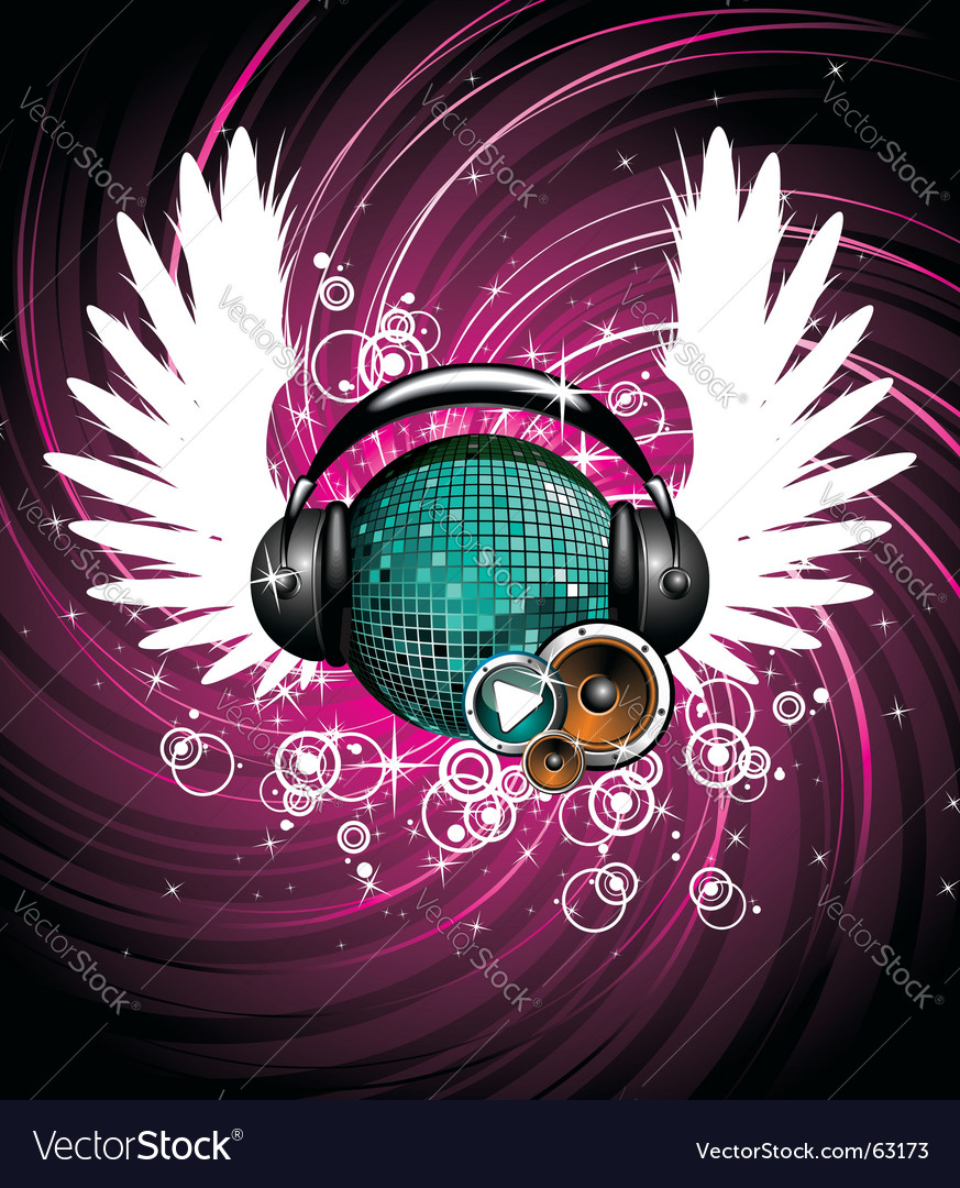 Wings and headphone vector