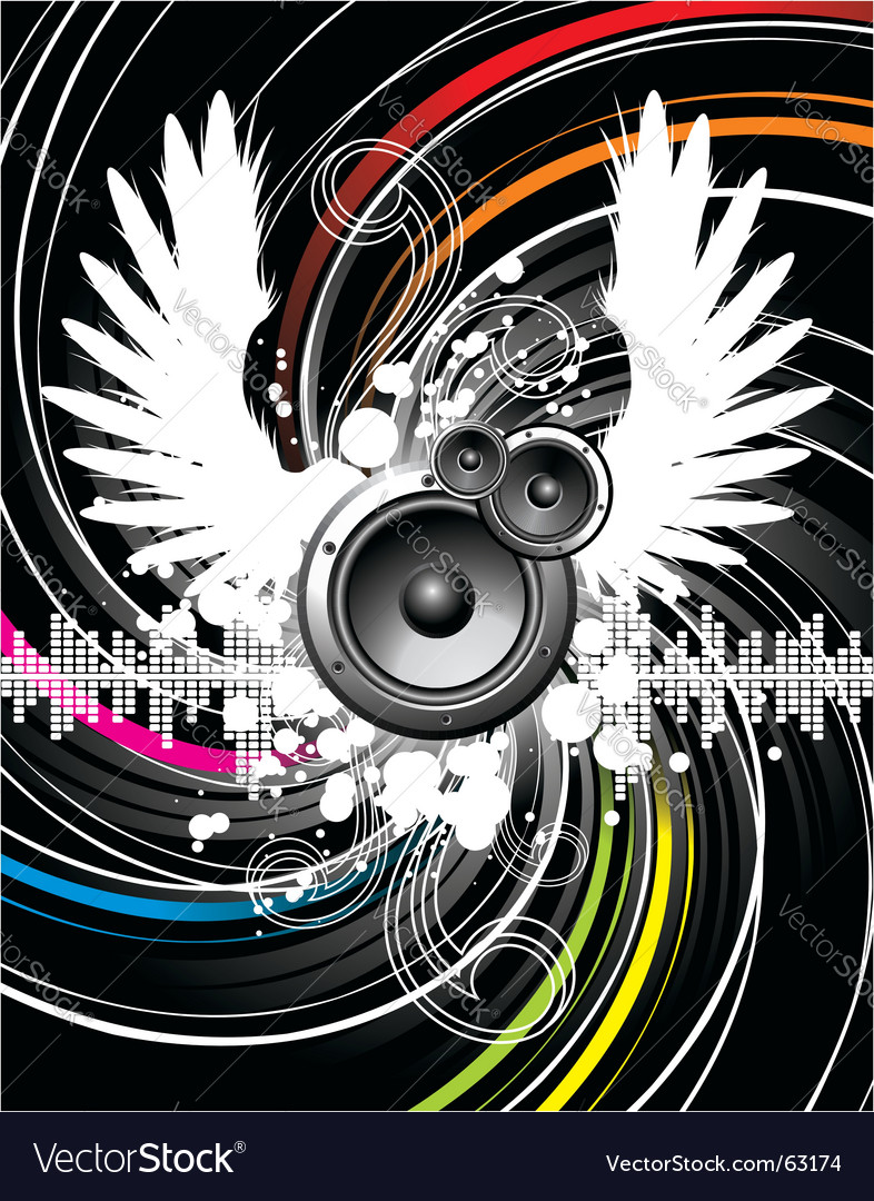 Wings of music vector