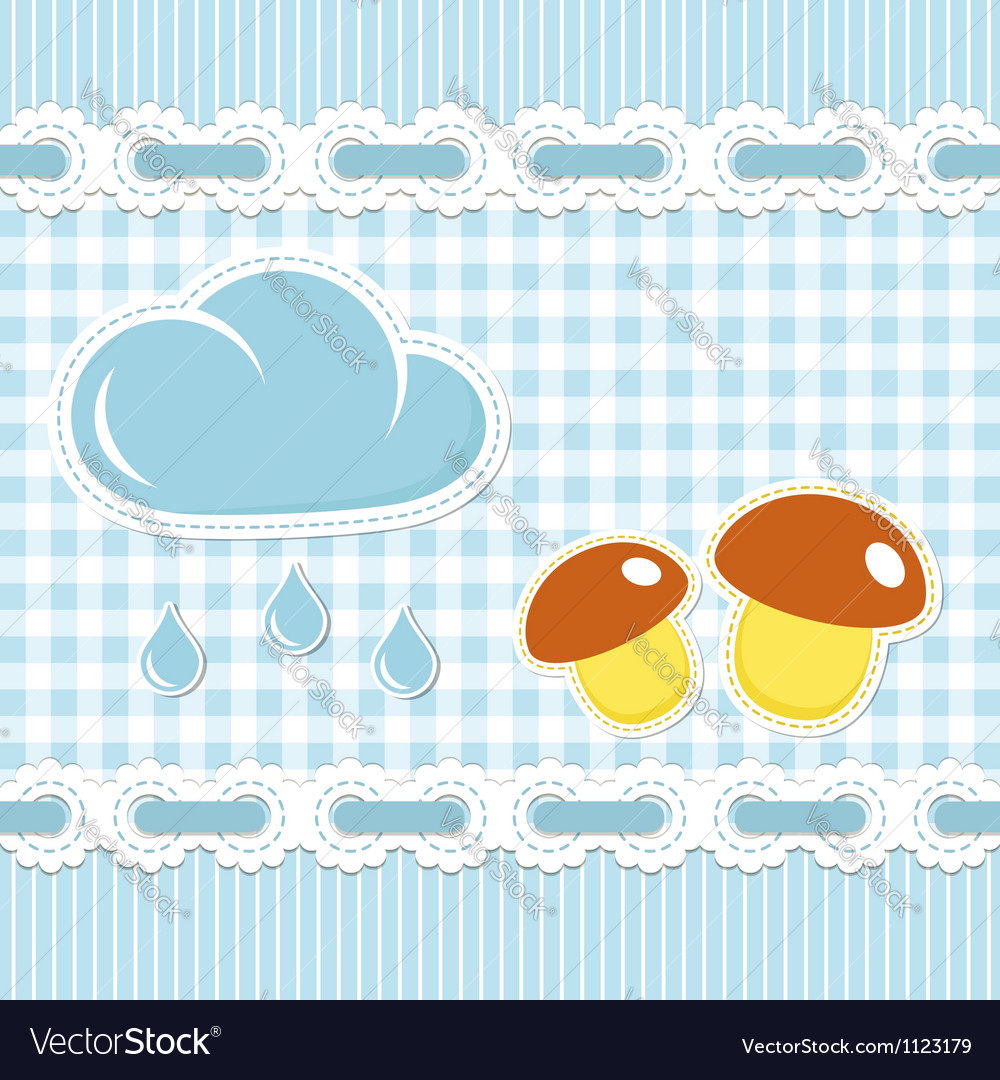 Checked background with mushroom and sun shower vector