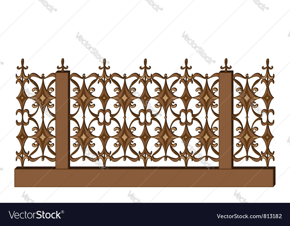 Wroughtiron railing on white vector