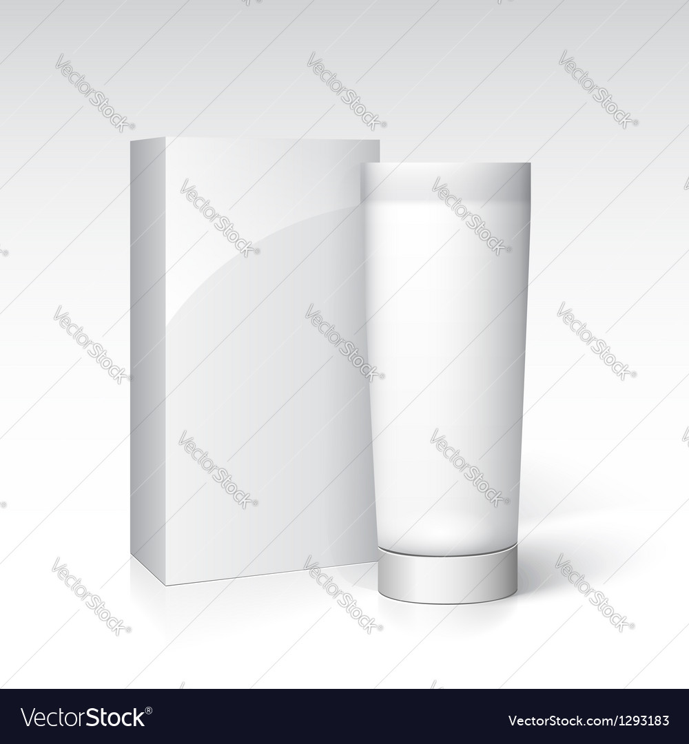 Box and tube of cream ready for your design vector