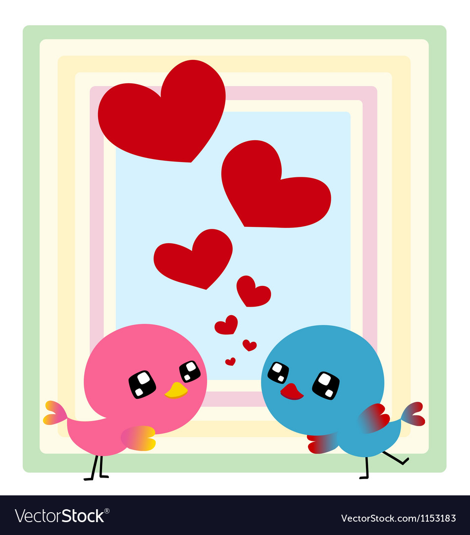 Couple birds with heart vector