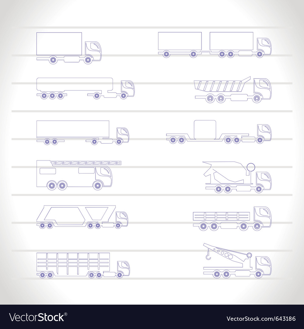 Different types of trucks and lorries icons vector