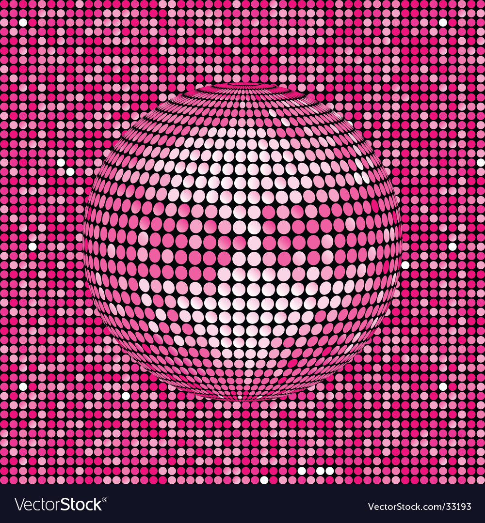 Pink abstract disco ball background vector