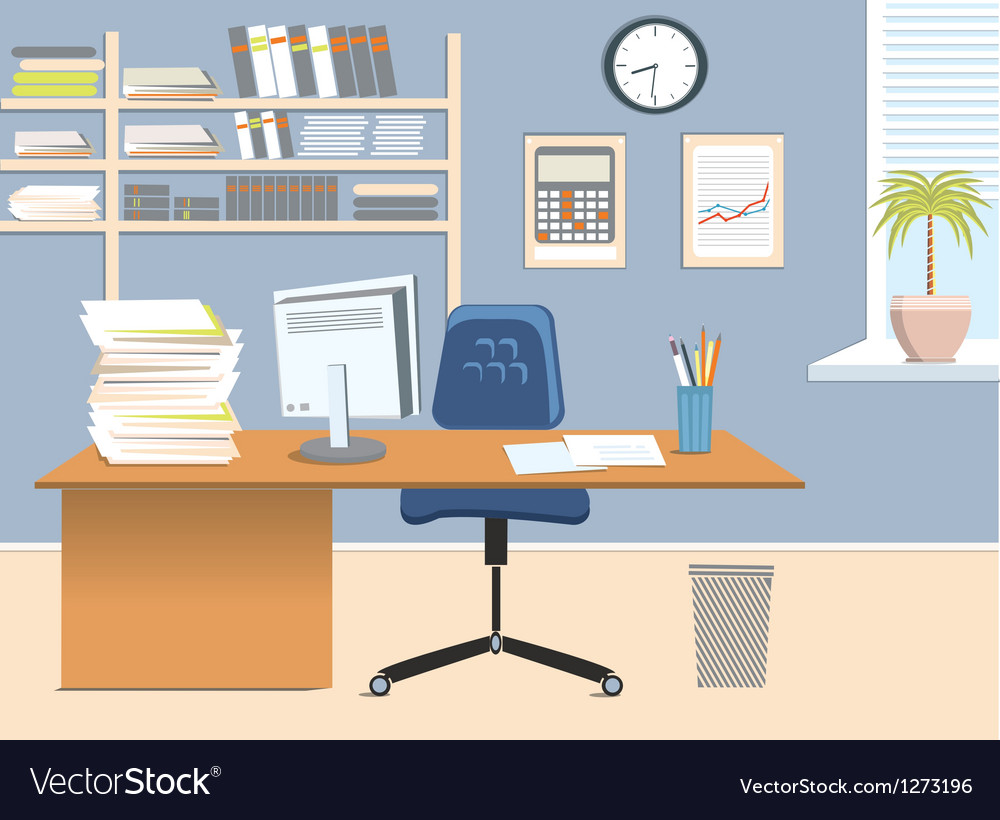 Interior office room vector