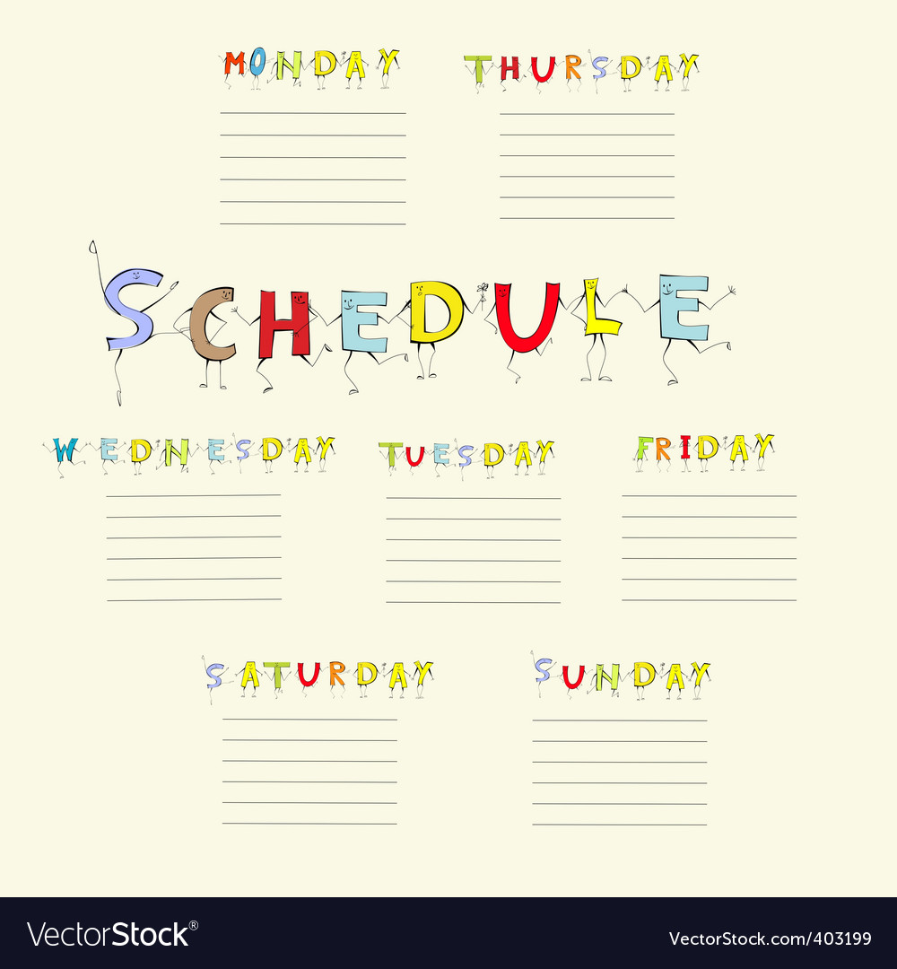 School schedule vector by Ateli - Image #403199 - VectorStock