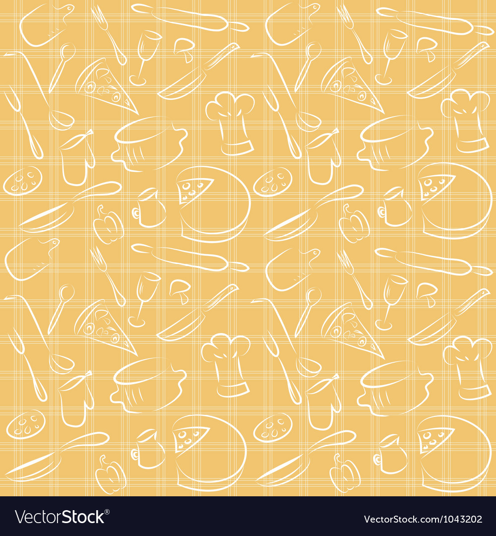 Seamless kitchen orange pattern vector