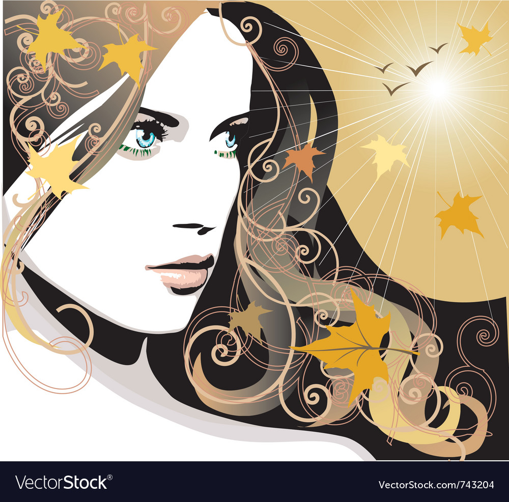 Girl autumn vector