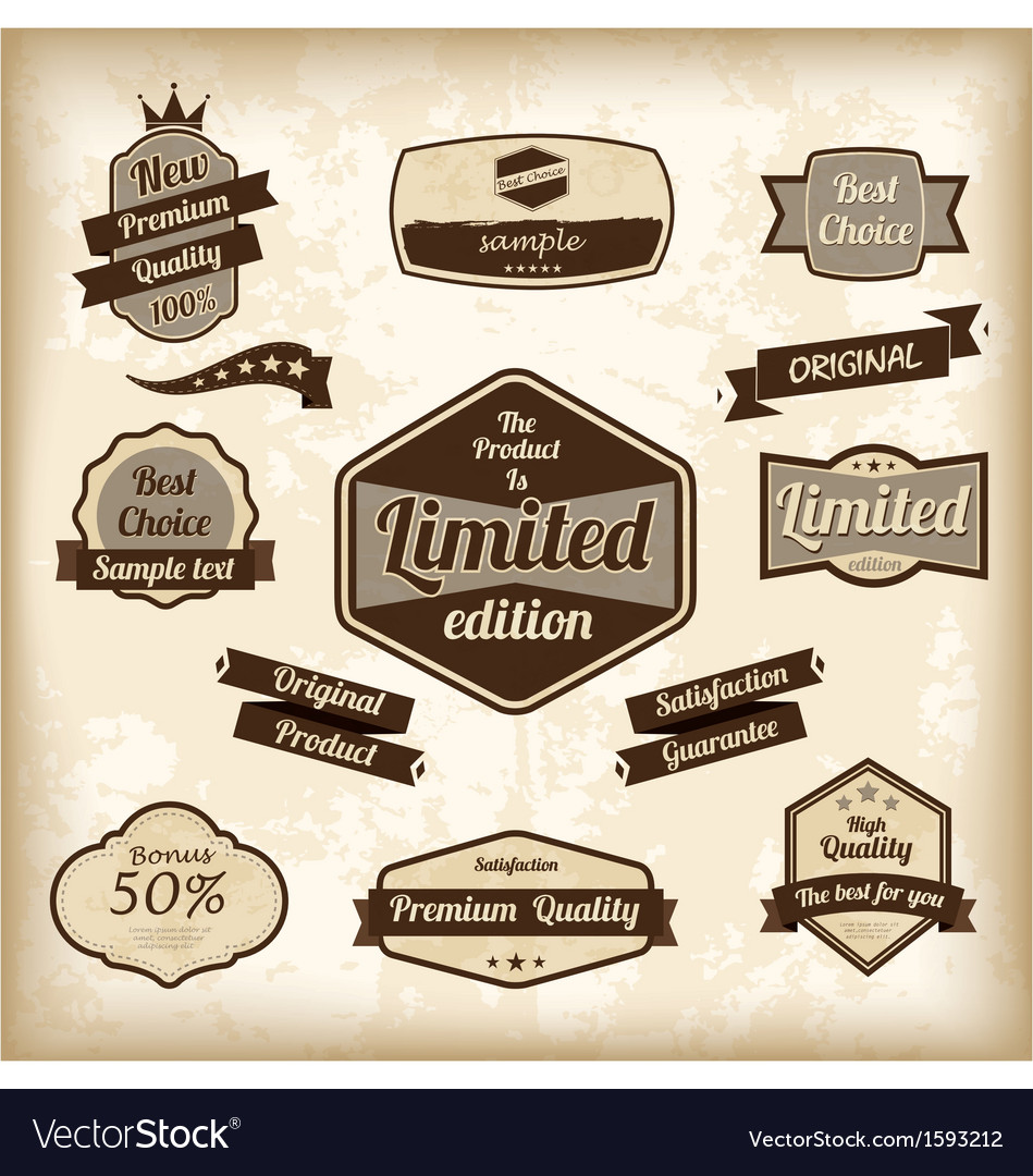 Free retro design label set vector