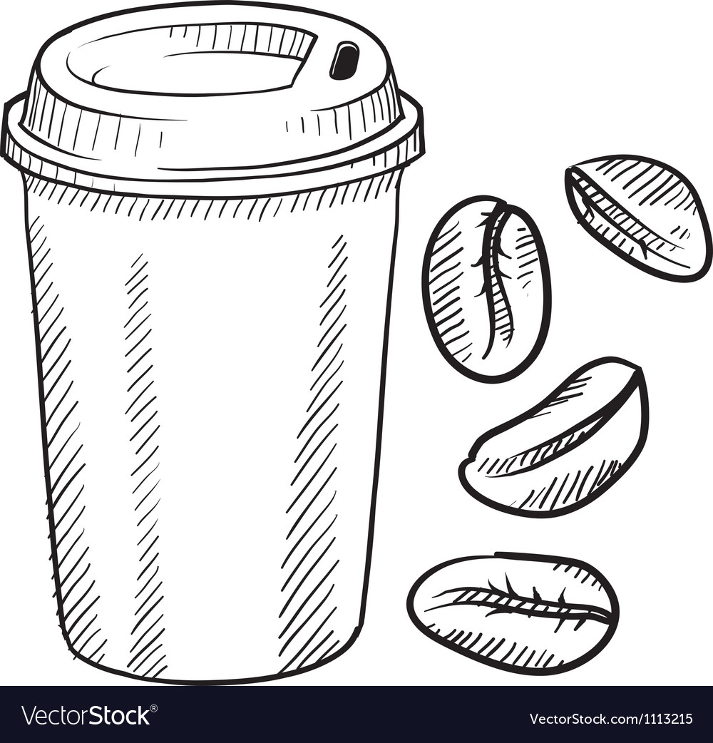 Doodle coffee cup portable disposable togo beans vector