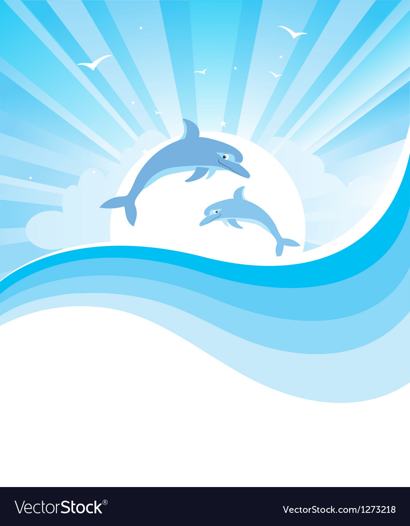 Dolphins in blue sea vector