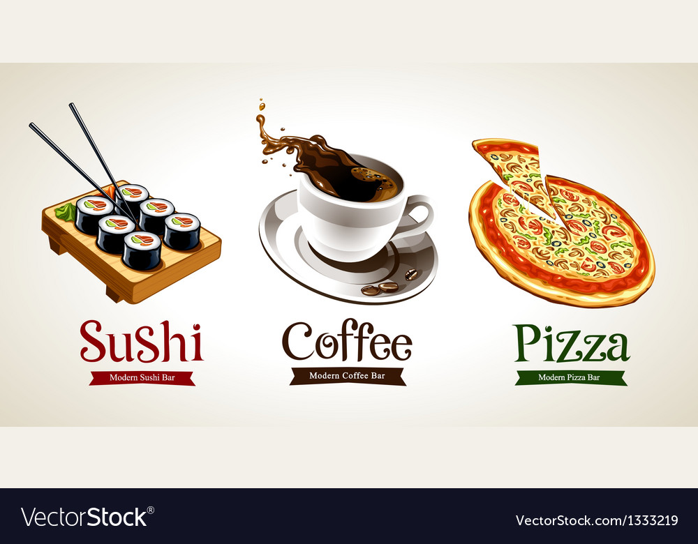 Sushi coffee pizza vector