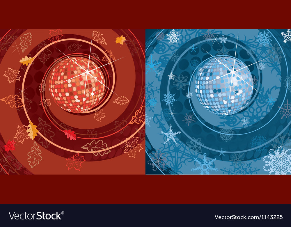 Autumn and winter square background vector