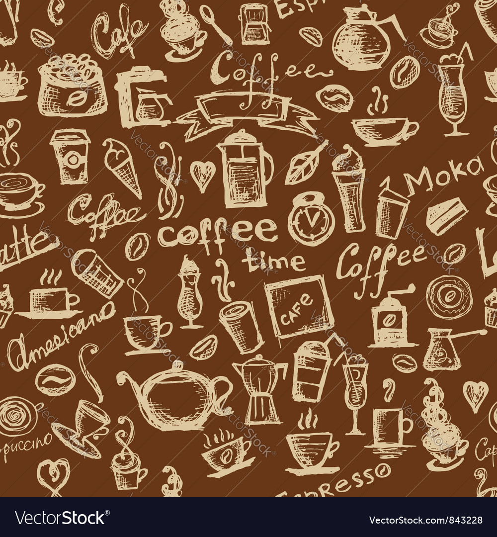 Coffee time seamless vector