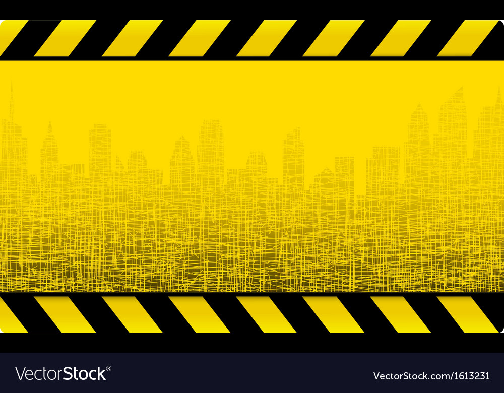 Grunge construction background with city vector