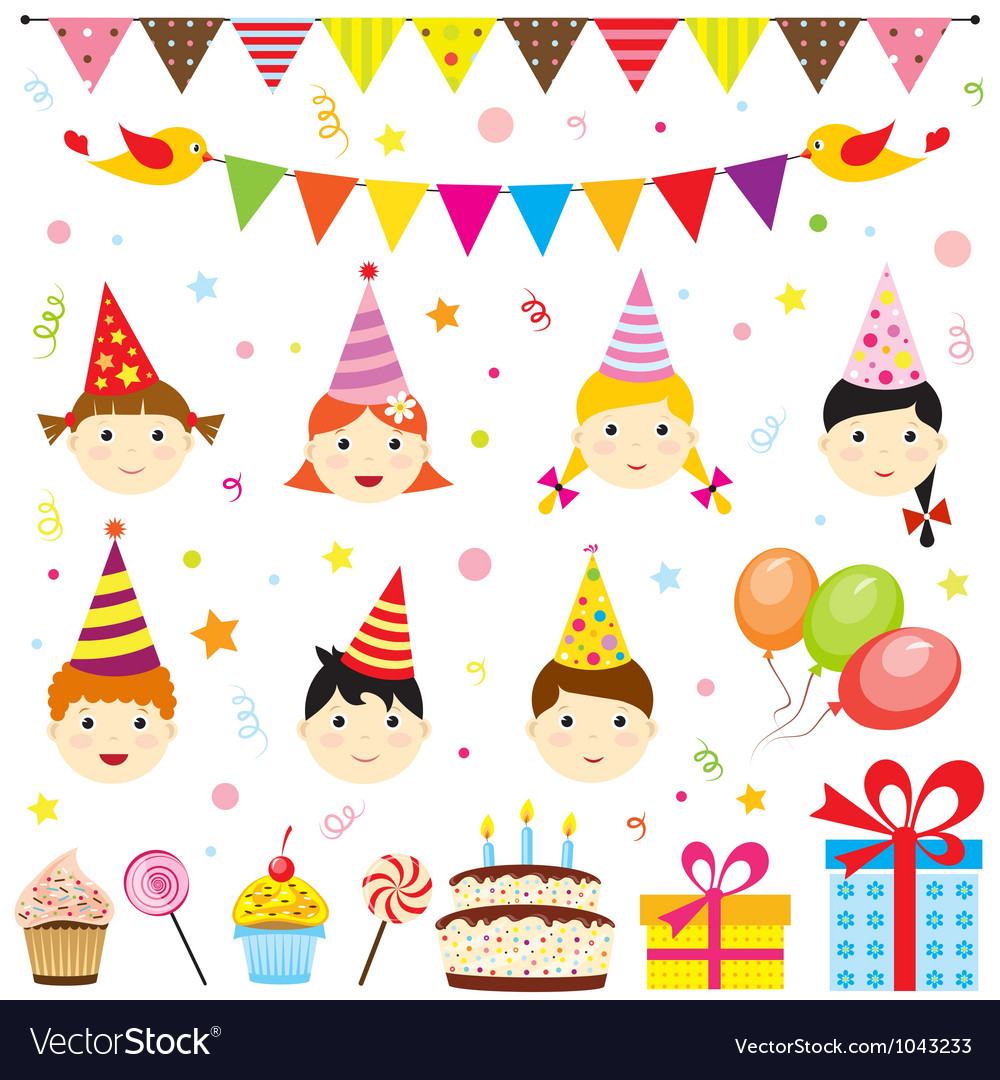 Set of birthday party elements with cute kids vector