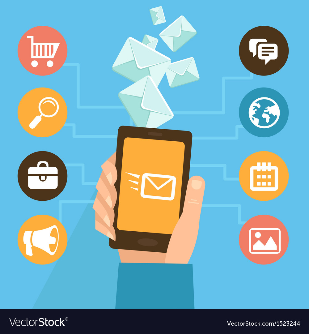 Mobile app  email marketing and promotion vector