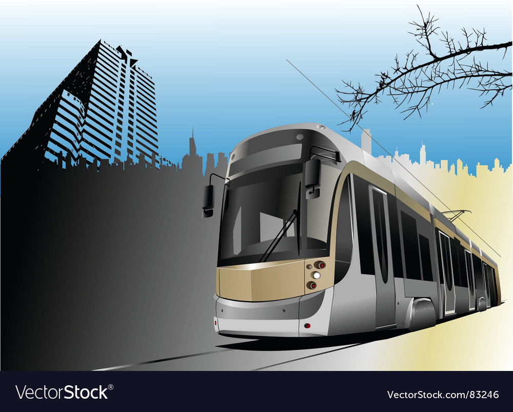 Tram and city vector