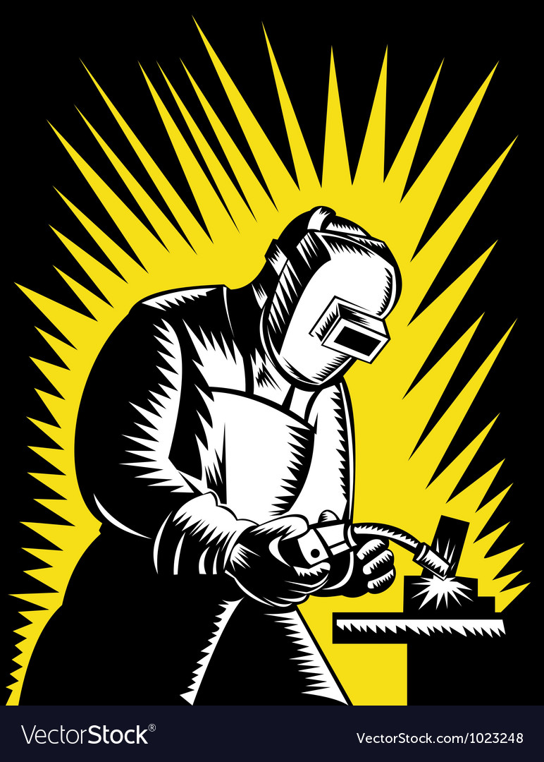 Welder metal worker welding retro vector