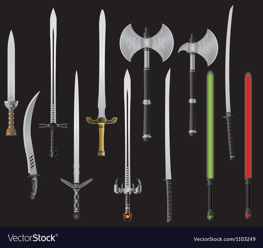 Set of fantasy swords and axes vector