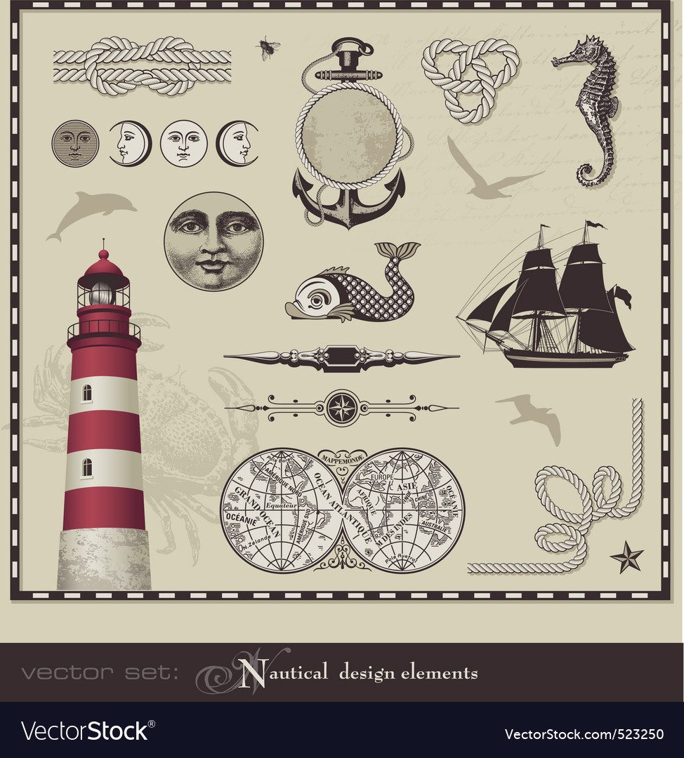 Nautical design elements vector