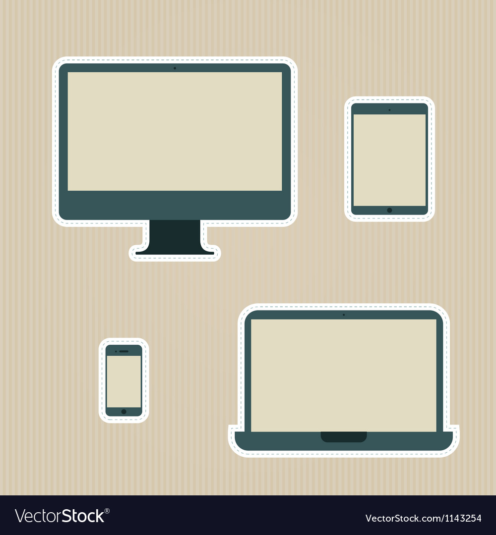Electronic devices vintage icons set vector