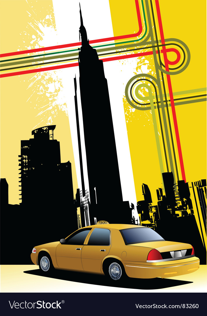 Ny background with taxi image vector