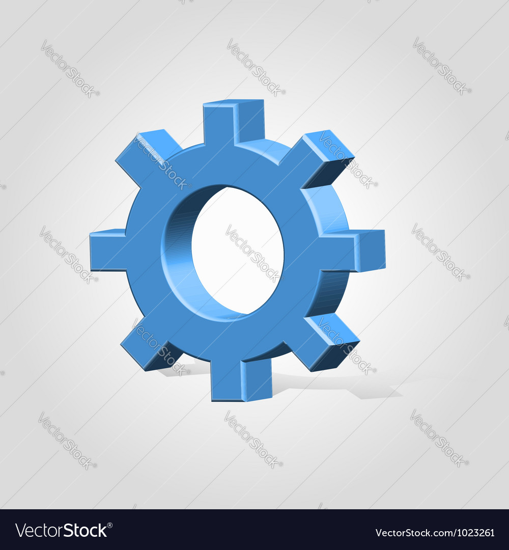 Blue settings wheel vector