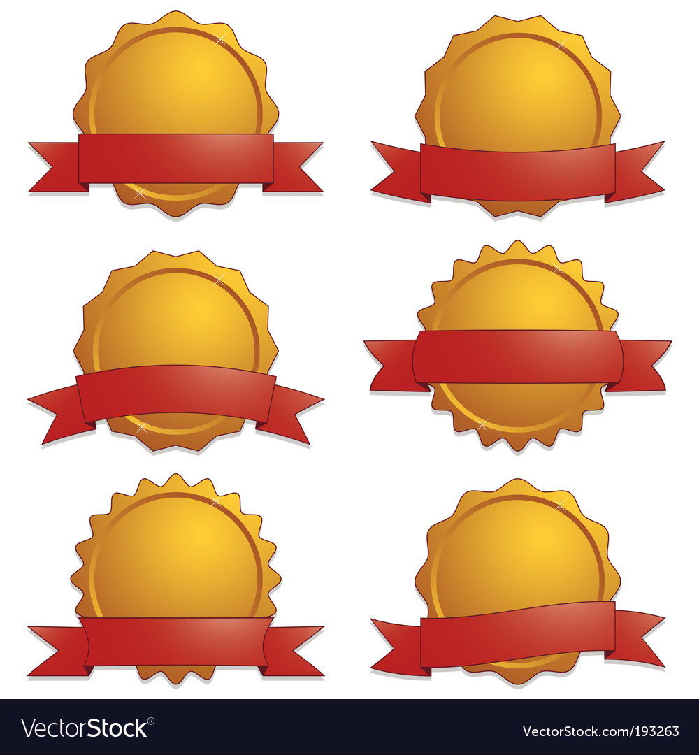 Gold seals with banners vector