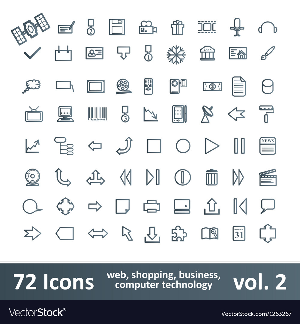 72 icons vector
