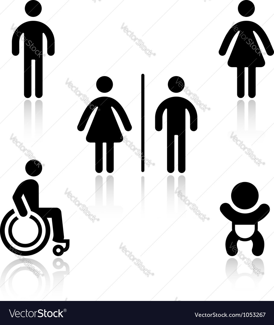 Toilet black set pictograms vector