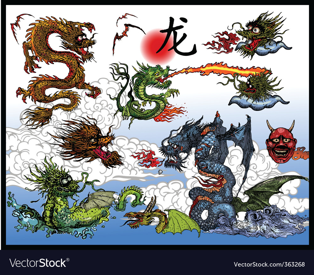 East asian dragons vector