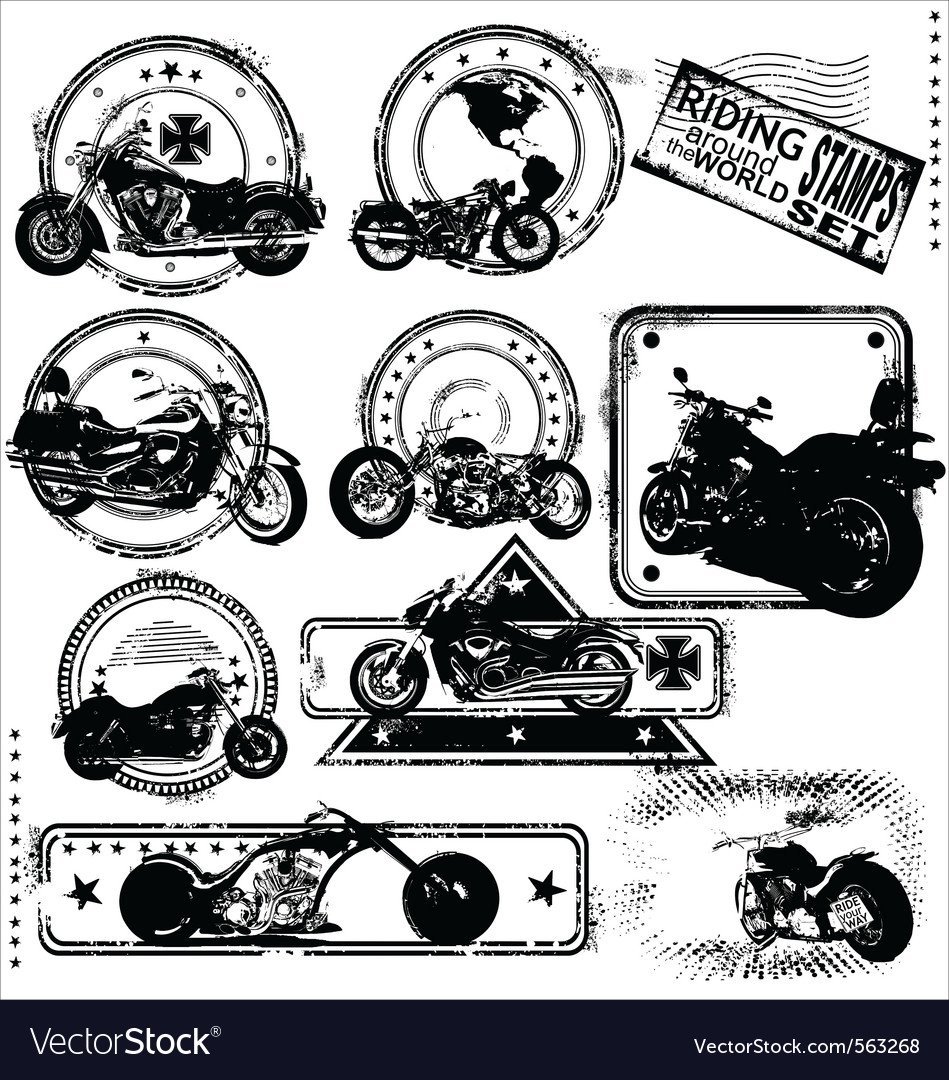 Motorbike stamps set vector