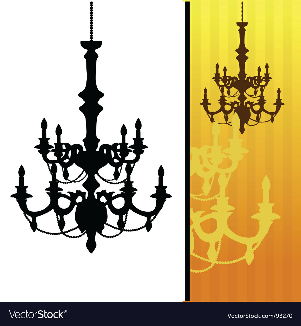 Chandelier on yellow striped background vector