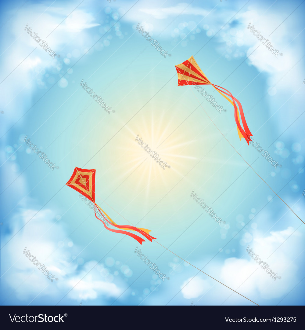 Sky nature design white clouds sun flying kites vector