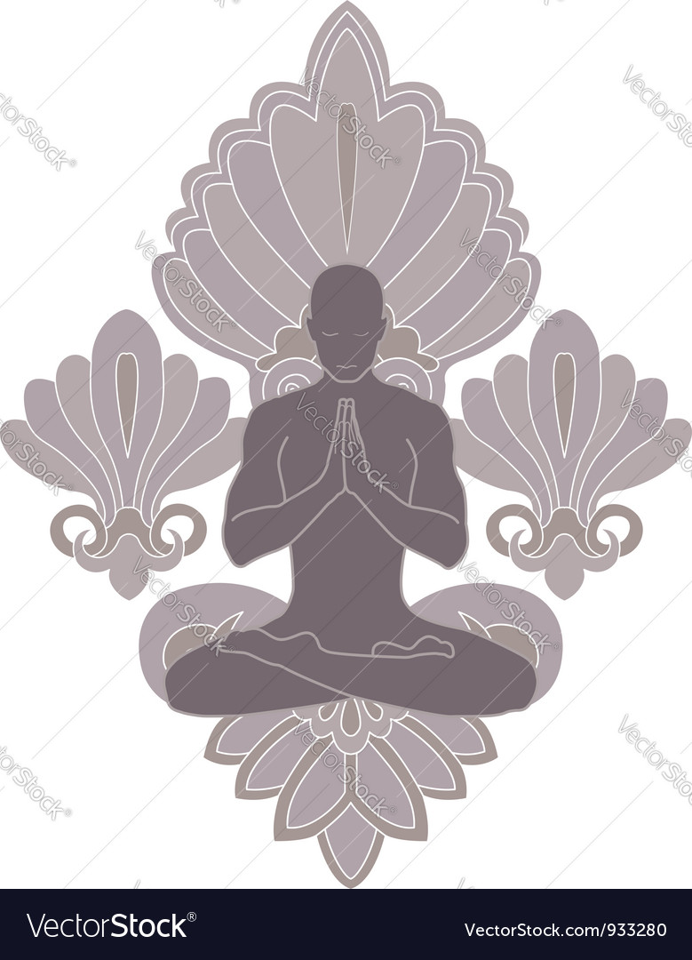 Yoga and pray vector