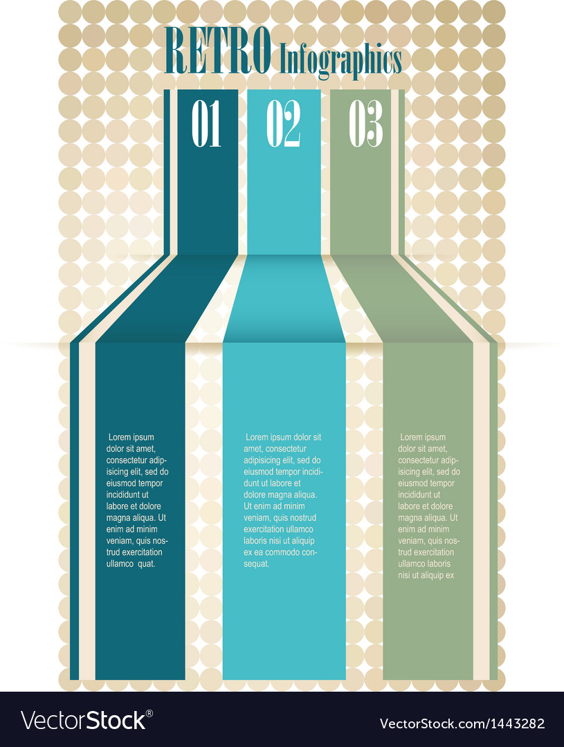 Retro color infographics number options banner vector
