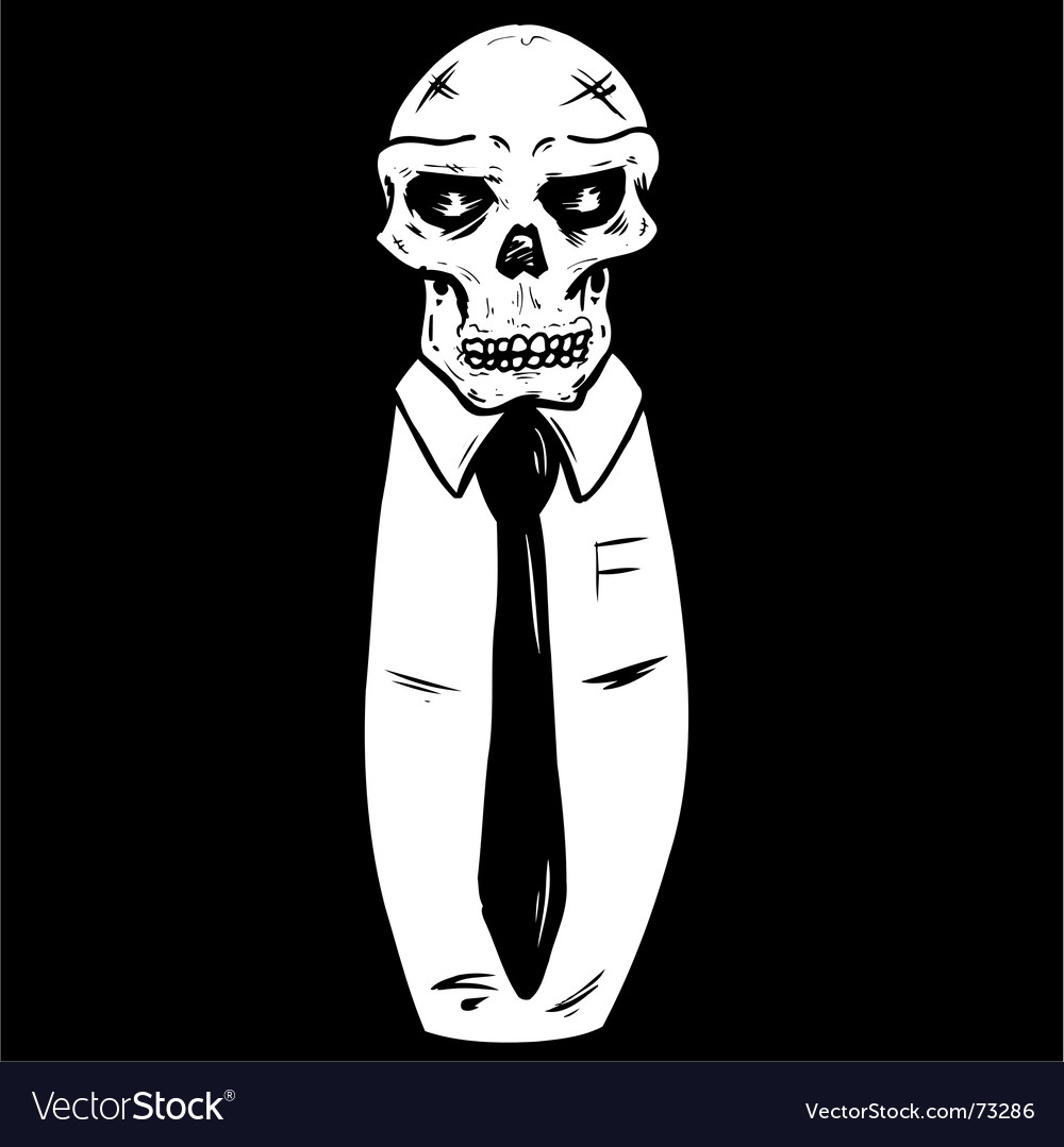 Suit wearing skull vector