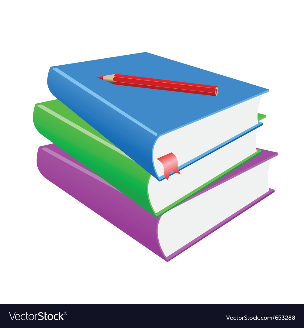 Red pencil and books on a white background vector