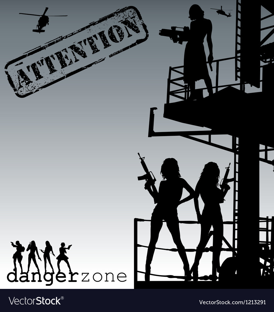 Attentiondanger zone vector