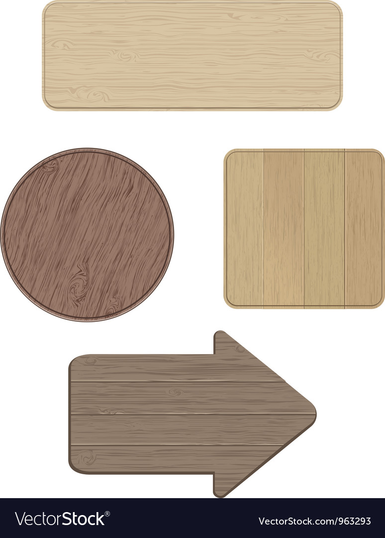 Set of wooden signs vector