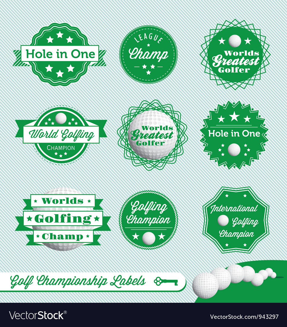 Golf championship labels vector