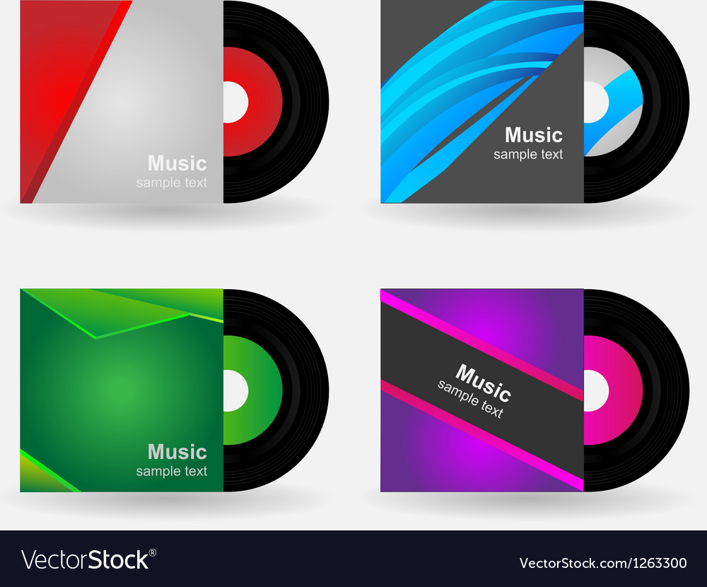 Set  vinyl with cover vector