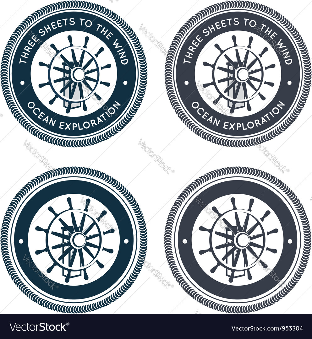 Nautical emblem with steering wheel vector