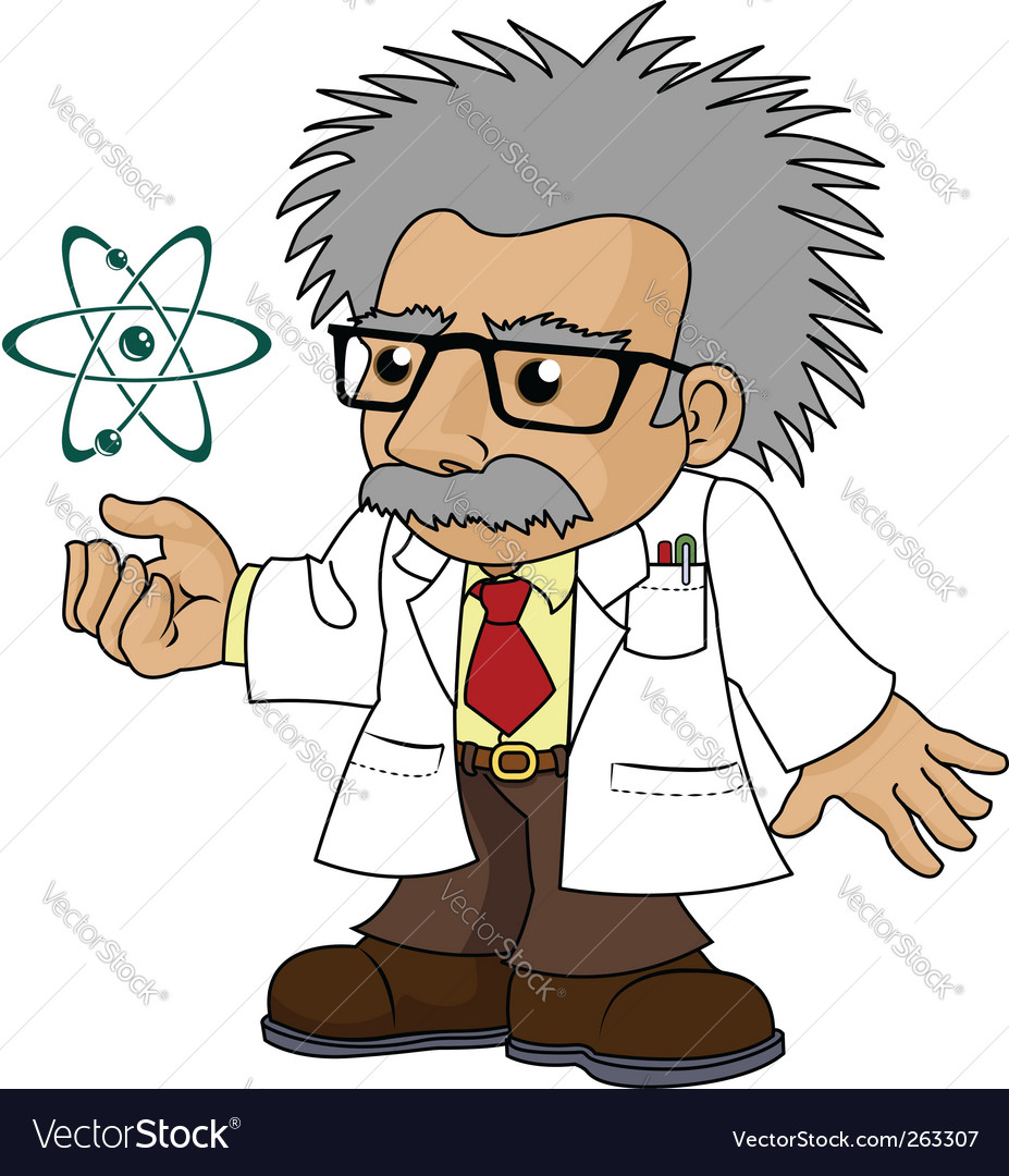 Of nutty science professor vector