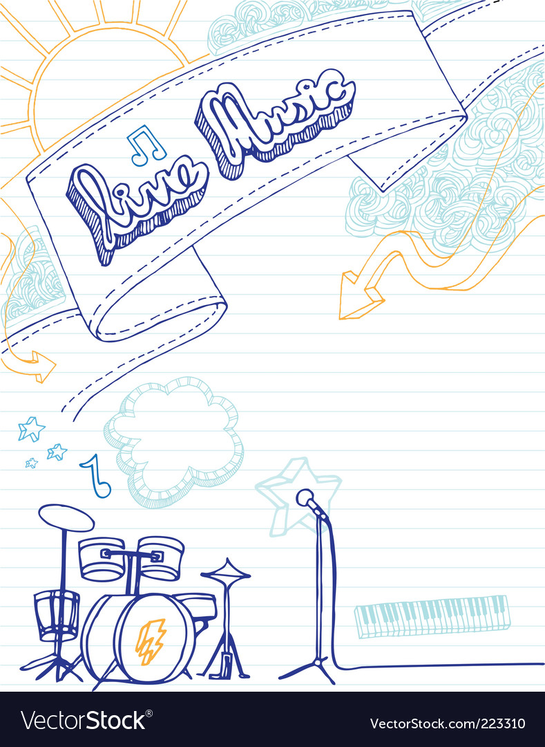 Live music doodle vector