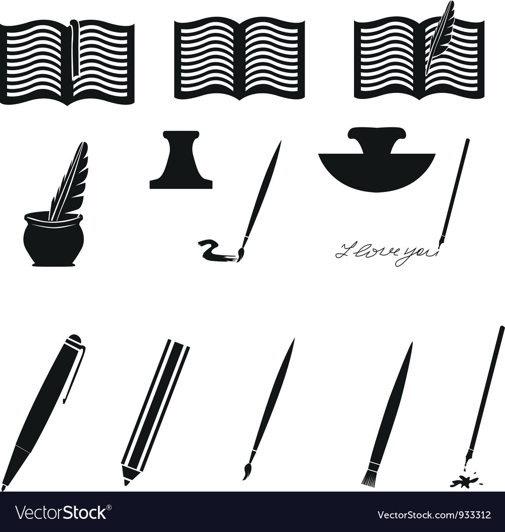 Writing and painting icons vector